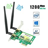 Ziyituod Gigabit AC 1200Mbps PCIe WiFi Bluetooth Card with Bluetooth 4.2, Dual Band(5GHz 867Mbps / 2.4GHz 300Mbps) PCI Wireless Card for Desktop PC, Supports Win 10/8/7 32/64bit