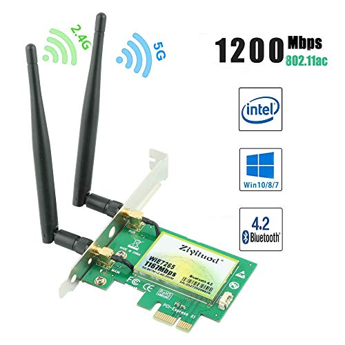 Ziyituod AC1200Mbps Bluetooth4.2 PCIe WLAN Karte, Dual-Band Netzwerk Karte (5 GHz 867 Mbit/s oder 2.4 GHz 300 Mbit/s), Intel Wireless ac 7265 WiFi-Adapterkarte für Desktop-PC(WIE7265)