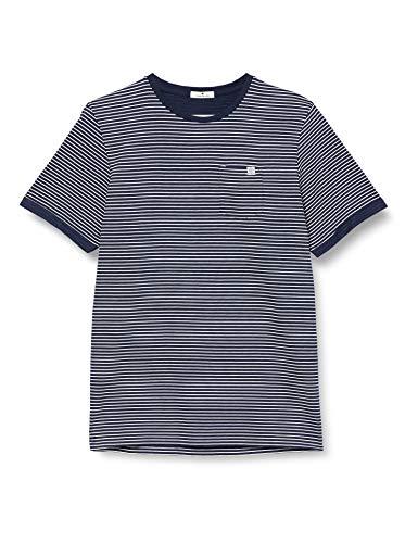 TOM TAILOR Herren Streifen T-Shirt, 22946-blue White Printed, L