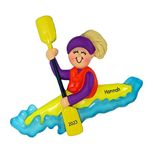 Personalized Kayaking Girl Christmas Tree Ornament 2020 - Blonde Woman Paddle Canoe Water Wave Active Sport Hobby Vacation First Nature Lake - Free Customization (Yellow Hair Female)