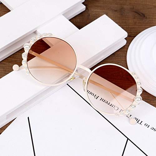 XMYNB Gafas de Sol Niños Redondo Metal Niños Pearl Gafas De Sol Chica Muchacho Lindo Eyewear Moda Gafas De Sol Sombra Uv400