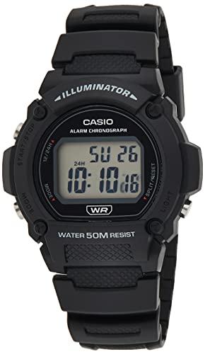 Casio W219H-1 50 Metres Water Resistant Digital Watch, Black (Model: W-219H-1AVDF)