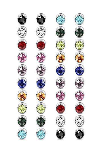 Finrezio 20 Paare 6MM Magnetische Ohrstecker Für Frauen Magnet Ohrringe Bunter Kristall Non-pierced Ohrringe Ohne Ohrloch