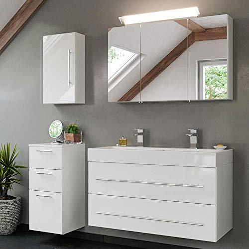 Lomadox Badezimmer Badmöbel Komplett-Set mit Mineralguss Doppel-Waschtisch in weiß Hochglanz & mit LED-Spiegelschrank
