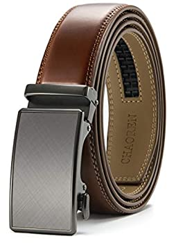 Chaoren Leather Ratchet Dress Belt 1 3/8 with Formal Slide Buckle Adjustable Trim to Fit in Gift Box  Cognac Belt Men