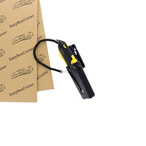 Modern Box Cutter for Retail Use - Extra Tape Cutter at Back, Dual Side Edge Guide, 3 Blade Depth Setting, 2 Blades and Holster - Yellow Color 2000