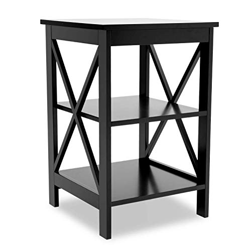 MMEI Leisure Zone End Table Side Table Sofa Side Table Storage Shelves with 3 Tiers Bedside table For Living Room Bedroom Kitchen Any Room (Black)
