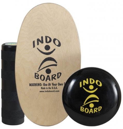 "INDO BOARD Mini Original Package - Natural - Balance Board for Kids to Improve Balance - 28"" X 15"" Deck, 6.5"" Diameter Roller and a 14"" IndoFLO Cushion"