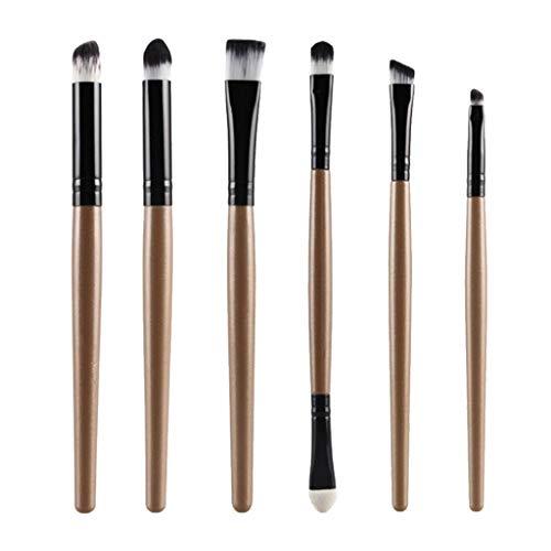 MERIGLARE 6 Pièces Pinceaux De Maquillage Pour Les Yeux Doux Pinceau à Paupières Applicateur Crème Brosse Ensemble De Pinceaux - Noir doré