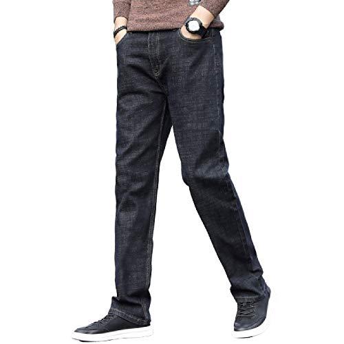 Pantalones Vaqueros de Moda para Hombre, Color sólido, Sueltos, de Gran tamaño, cómodos, elásticos, clásicos, básicos, Casuales, Rectos, Pantalones de Mezclilla Lavados 30