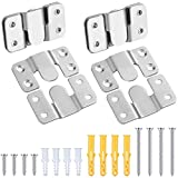 4 Sets Stainless Steel Picture Hangers Photo Frame Hanging Hook Z Shaped Clip Bracket Furniture Flush Mount Bracket with Screws and Expansion Plastic Plug Wall Mount Hardware