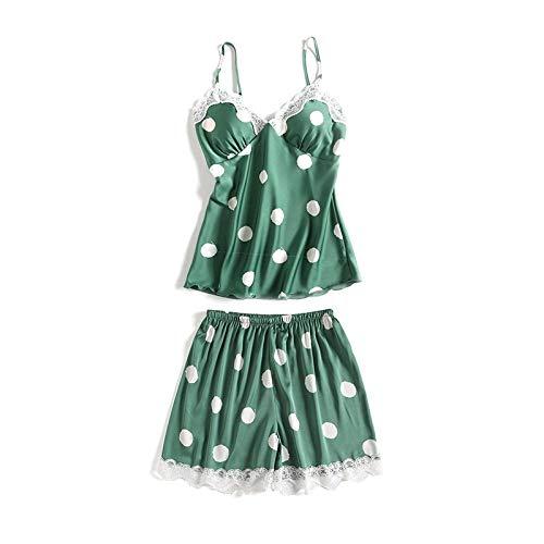 Conjunto De Pijamas Para Mujer,Conjunto De Pijama Halter Sexy Para Mujer Con Puntos Verdes De Satén Sling Babydoll Sets Ropa De Dormir Camisola De Satén Tops Pantalones Cortos Conjunto De Vestido