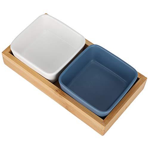 2 rejillas de cerámica para frutas y dulces, frutos secos, postres y suministros para el hogar con bandeja, 2 rejillas, color blanco y azul
