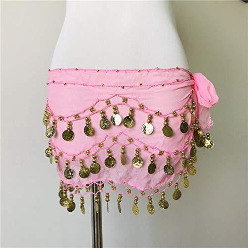 CHENTAOCS Vrouwen Toon Munten Taille Ketting Wikkel Volwassen Dans Draag Buik Dans Hip Sjaal Accessoires 3 Rij Riem Rok met 95 Goud Bellydance Eenvoudig te gebruiken Eén maat roze