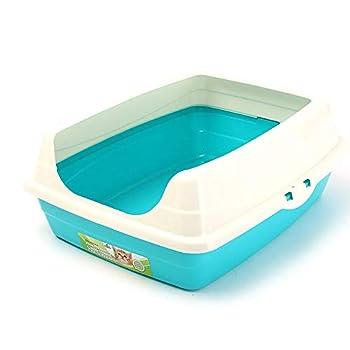 ZCY Grand Bordé Bac À Litière, Ouvert Litière Universel Grand Toilette pour Chat Animal De Compagnie Fournitures pour Chats (Color : Blue)