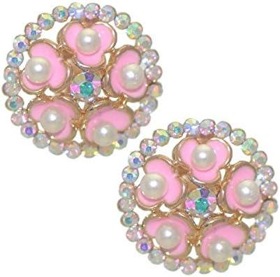 BRYLEN Gold tone Pink faux Pearl Crystal Clip On Earrings