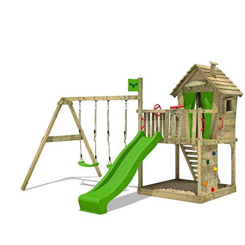 FATMOOSE Spielturm DonkeyDome Double XXL Stelzenhaus Kletterturm Baumhaus mit Doppelschaukel, Rutsche und großem Sandkasten