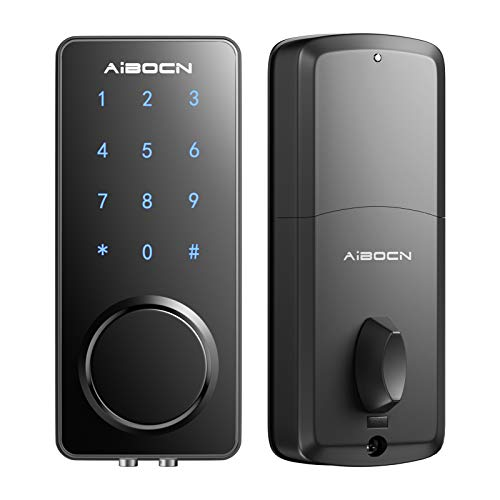 Aibocn Smart Lock, Slim Keyless Entry Door Lock with Bluetooth Deadbolt-Digital Electronic Deadbolt Lock with Keypad, Smart Lock Front Door Works with Smartphone, Code and Key, Auto-Lock for Apartment