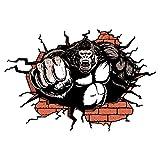 Pegatinas de Pared 3D Gorilla, Fácil de Poner y Quitar 60 x 90 cm, PVC Tatuajes de Agrietada Pared Impermeable para Habitación Inicio Aula Oficinas Dormitorio-60 * 90CM