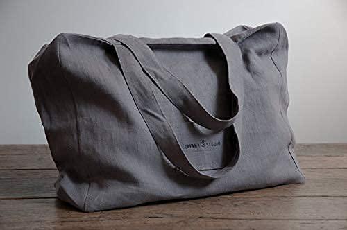 Leinentasche mit Reißverschluss Damen Umhängetasche Grau Shopper Casual Handtasche groß für Alltag Büro Schulausflug Einkauf Strand Freizeit Shopping Sport