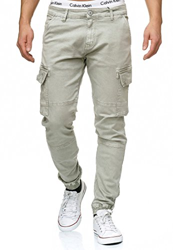 Indicode Herren August Cargohose aus Baumwolle mit 6 Taschen | Lange Regular Fit Cargo Chino Hose Baumwollhose Chinohose Freizeithose Stoffhose aus Stretch Material für Männer Lt Grey XL