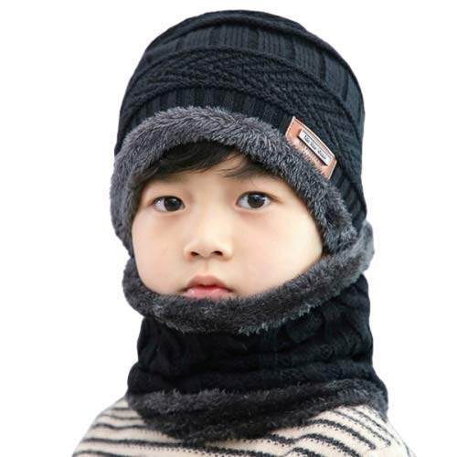 BRATS N BEAUTY ® Boy's and Girl's Winter Warm Hat Outdoor Sports Hedging Hat Scarf Set Ski Equipment – Black