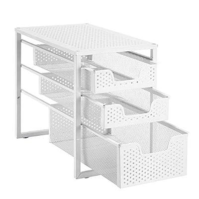 Simple Trending 3-Tier Under Sink Cabinet Organizer with Sliding Storage Drawer, Desktop Organizer for Kitchen Bathroom Office, Stackbale,White