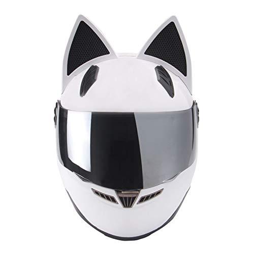 DCLINA Summer Cool Girl Women Cat Ears Motorcycle Helmet Street Moto Full Face Helmet with Visor, Motocross Scooter Flip Up Men Helmet All Seasons Breathable DOT Certified, White (53-61cm)