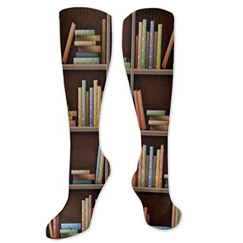 FETEAM Estantería blanca Mockup Books Shelf Novedad Cool Dress Crew Calcetines, Calcetines largos Transpirable Comodidad Compresión Calcetines de tobillo alto 2 Pares