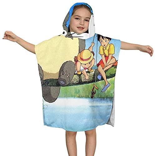 Totoro - Toalla de baño con capucha para niños, 60 x 60 cm, absorbente de lujo para baño y playa, suave algodón de rizo con capucha