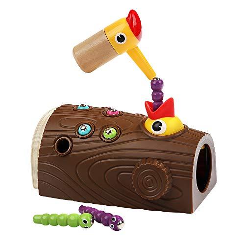 KEBY Neuheit Specht Holzstumpf Magnetische Raupe Fangen Füttern Spiel Specht Montessori Lernspielzeug für Kinder Kinder Jungen und Mädchen Früherziehung Lernspielzeug