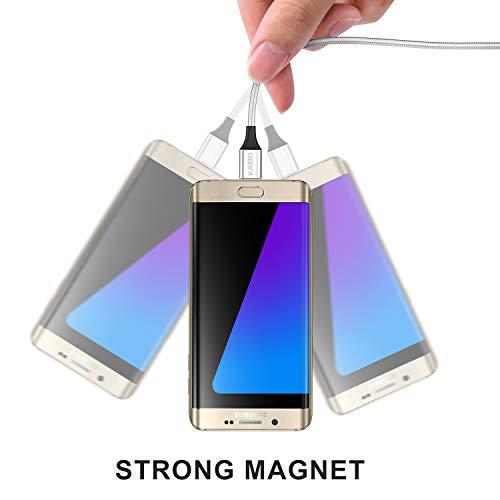KAIBO Magnetisches Micro USB Kabel, [2Stück 1m] Nylon Magnet Micro USB Ladekabel Datenkabel Android Schnellladekabel für Samsung Galaxy S7/S6/J7/J5,Xiaomi,Huawei,Wiko,Nexus,Nokia,Kindle,Echo Dot