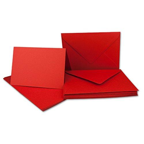 Set de cartes pliables au format A6 avec enveloppes au format C6 à collage humide Sans boîte 20 Karten-Sets Rot