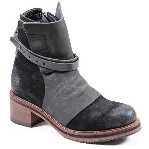 Diba True Women's Copper Tail Genuine Leather Low Heel Moto Boot Black, 8