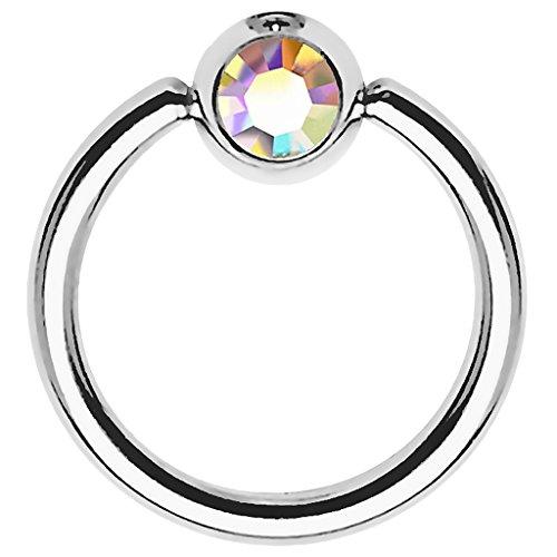 Piersando BCR Piercing Ring Universal Klemmring mit Zirkonia Kristall Klemm Kugel für Septum Brust Tragus Helix Nase Lippe Ohr Intim Nippel Chirurgenstahl Silber Rainbow 0,8mm x 8mm x 3mm