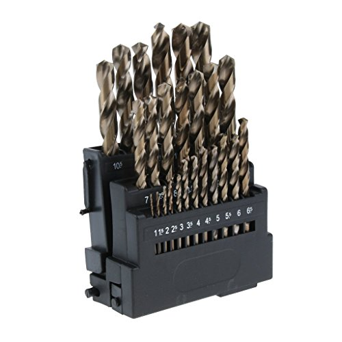 OUPPENG Industrial Rotary 25 Pieces Sharp M35 HSS Cobalt Drill Bit Set for Metal, Wood, Plastic 1~13mm Drill Bits Cutting