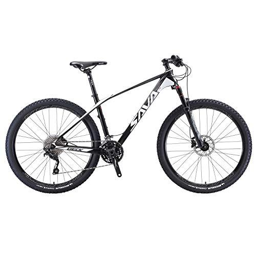 """SAVADECK DECK8.2 - Bicicleta de montaña de carbono, 27,5""""/29"""", XC, ultraligera, fibra de carbono, con 22 velocidades Shimano DEORE XT M8000 y hardware completo (blanco, 29 x 15)"""