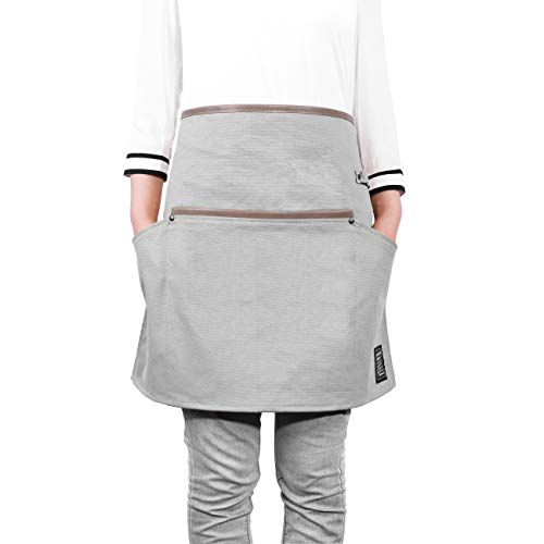 IKEPOD 3 Pockets Waist Apron - Waxed Canvas Waitress Serving Short Aprons for Crafts, Restaurant, Shop, Arts, Garden and Kitchen, Half Server Work Apron with Leather Patches & Magnet for Men/Women