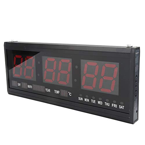 Orologio da Parete Digitale con Temperatura Display ,LED Sveglia Digitale da Tavolo Rosse con Temperatura Display per Ufficio a Casa, Sala Mensa, Decorazione Domestica