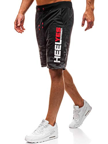 BOLF Herren Kurzehose Military Army Sporthose Jogger Trainingshose Sport Style J.Style KK208 Dunkelgrau M [7G7]