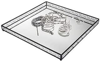 J Devlin Tra 116 Square Glass Jewelry Tray Vintage Sides Mirror Bottom 12 x12 Vanity Organizer