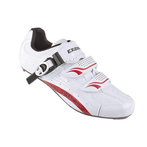 Exustar Zapatillas de Bicicleta de Carretera Unisex, Color Blanco/Rojo, Talla 41