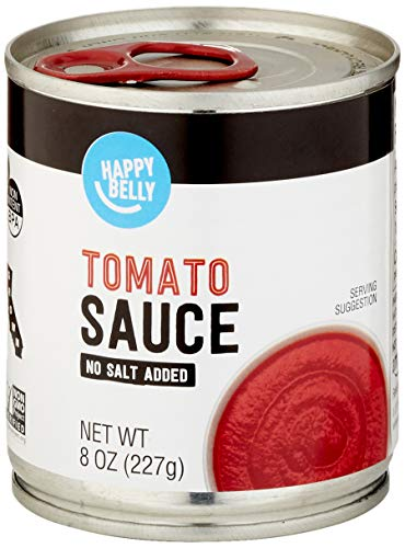 Amazon Brand - Happy Belly Tomato Sauce, No Salt Added, 8 Ounce