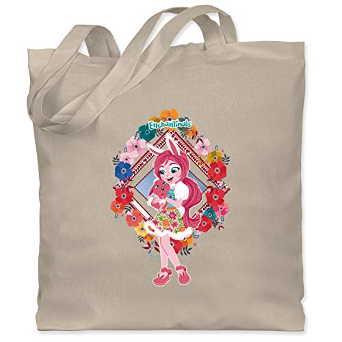 Shirtracer Enchantimals Tasche - Blumenkranz - Bree Bunny & Twist - Unisize - Naturweiß - Hase - WM101 - Stoffbeutel aus Baumwolle Jutebeutel lange Henkel