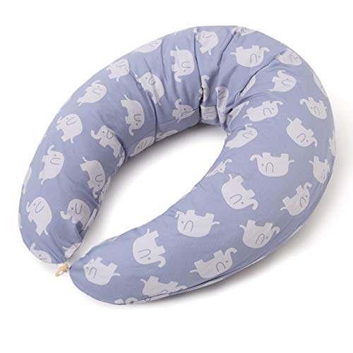 Lumaland Almohada de Embarazo y Lactancia para Bebés - Cojín de Maternidad para Dormir Lateral y Cunas con Funda Lavable de Algodón Embarazadas - Elefantes Azules