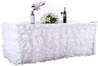 Adeeing Handmade Elegant Wave Accordion Pleat Polyester Tulle Table Skirt Cover Tablecloth For Party,Wedding,Home Decoration,108