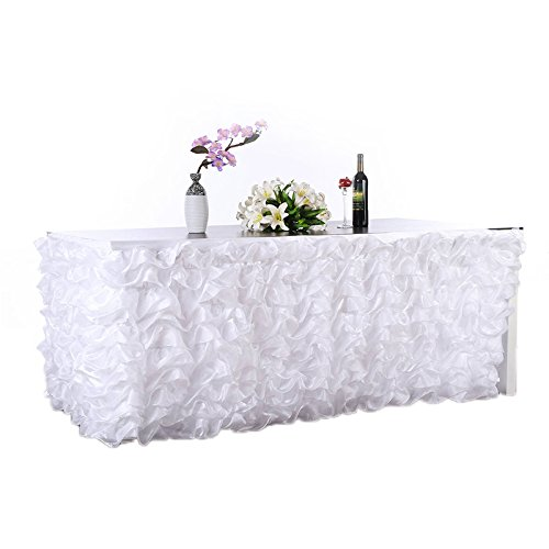 "Adeeing 9ft Tulle Table Skirt Ruffle Table Skirt White Table Skirt Handmade Elegant Wave Accordion Pleat Polyester Table Skirt Cover Tablecloth for Party, Wedding, Home 108"" 31"""