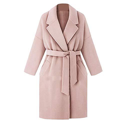 OKJI Elegante dames revers lange mouw Pocket riem wollen jas in de lange sectie van de wollen jas werk professionele slijtage
