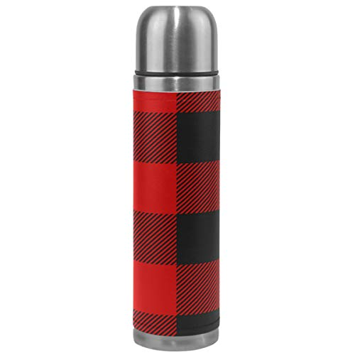Wamika Plaid Thermos Vacuum Insulated Bottle,Rustic Red Black Buffalo Check Plaid Stainless Steel Water Bottle,Checkered BPA Free Coffee Travel Mug Cup Genuine Leather Cover 17 Oz Best Christmas Gifts