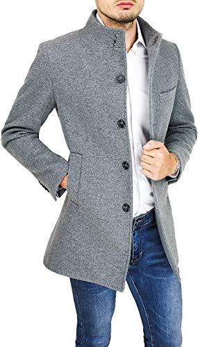 Cappotto Giacca Uomo Sartoriale Grigio Elegante Slim Fit Collo Coreana (M, Grigio)